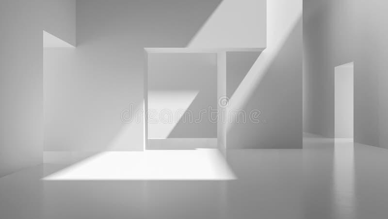 Representación vacía abstracta blanca interior del sitio 3D libre illustration