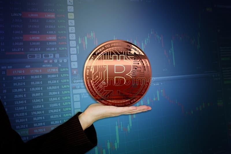 Representación virtual de oro del dinero 3D de Bitcoins de la foto nueva ilustración del vector