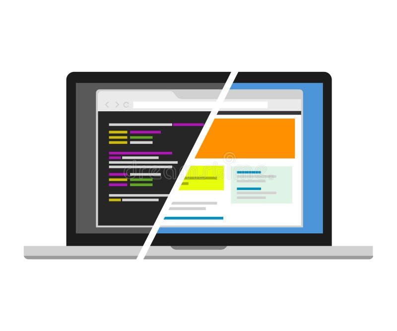 Representación visual del redactor del programador del diseñador del código del diseño web libre illustration