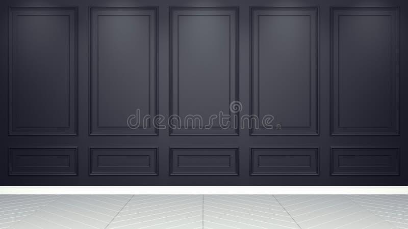 Representación viva interior negra clásica de la maqueta 3D del estudio Sitio vac?o para su montaje ilustración del vector