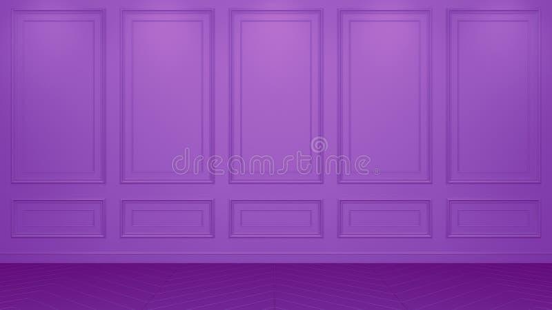 Representación viva interior púrpura clásica de la maqueta 3D del estudio Sitio vac?o para su montaje Copyspace ilustración del vector