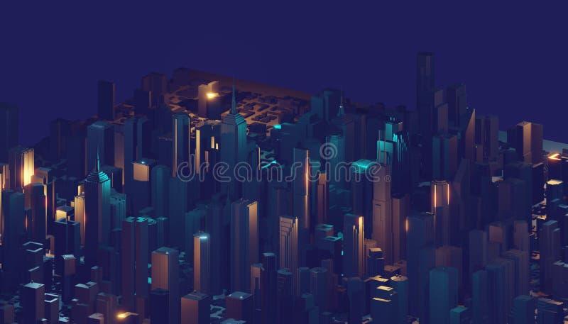 Representaci?n abstracta de la ciudad 3d con las l?neas y los elementos digitales Rascacielos de Digitaces Concepto de la tecnolo stock de ilustración