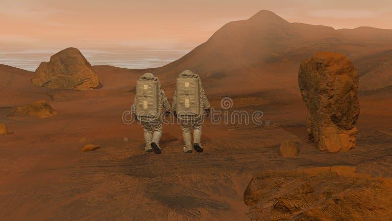 representaci?n 3d Colonia en Marte Dos astronautas que llevan el traje de espacio que camina en la superficie de Marte ilustración del vector