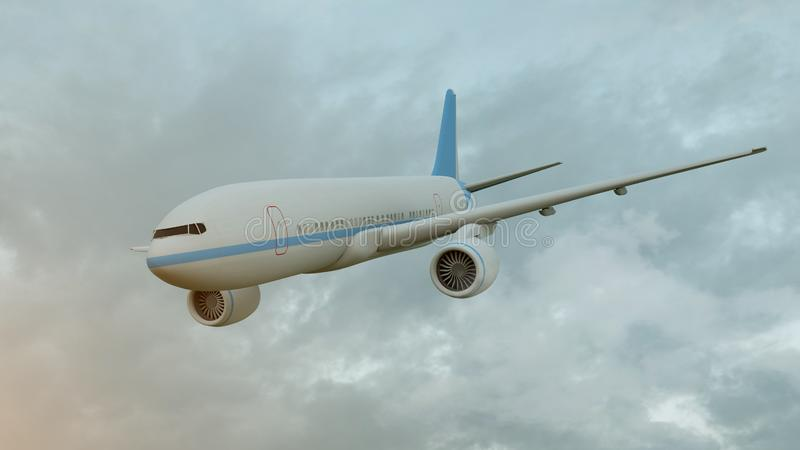 representaci?n 3D de un aeroplano comercial en vuelo sobre las nubes stock de ilustración