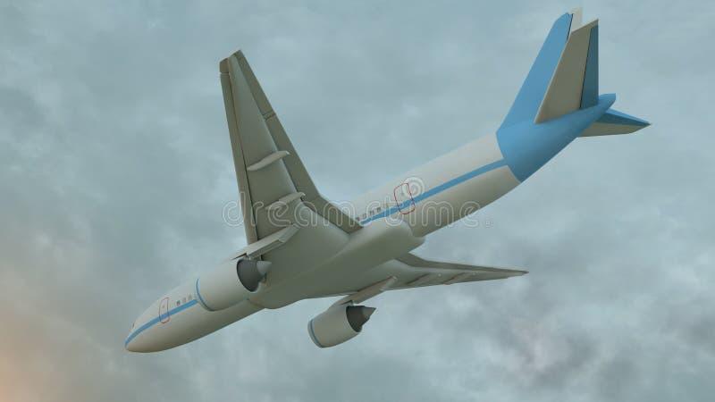 representaci?n 3D de un aeroplano comercial en vuelo sobre las nubes ilustración del vector