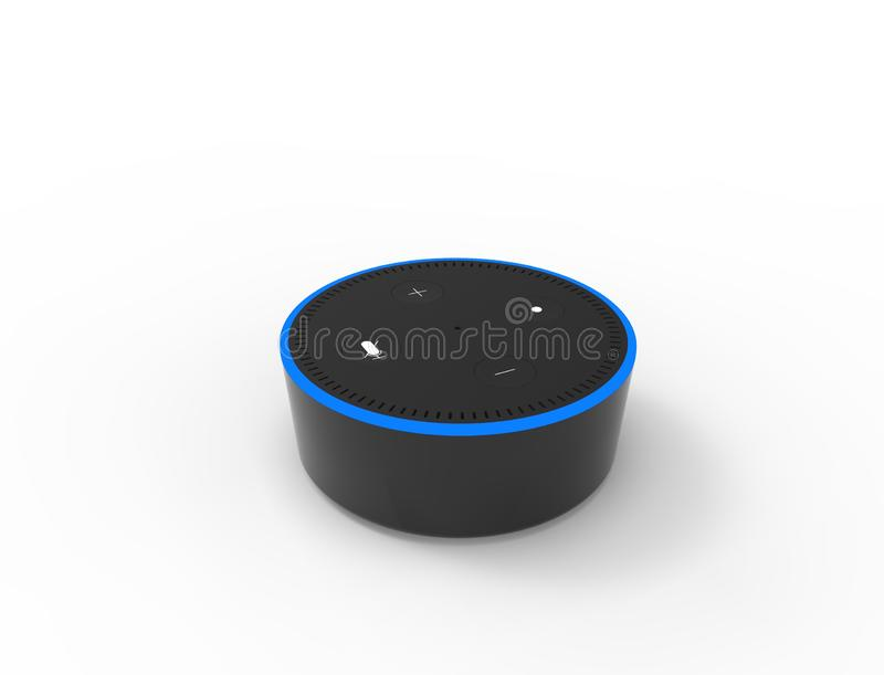 representaci?n 3D de un ayudante virtual de la voz aislado en el fondo blanco ilustración del vector