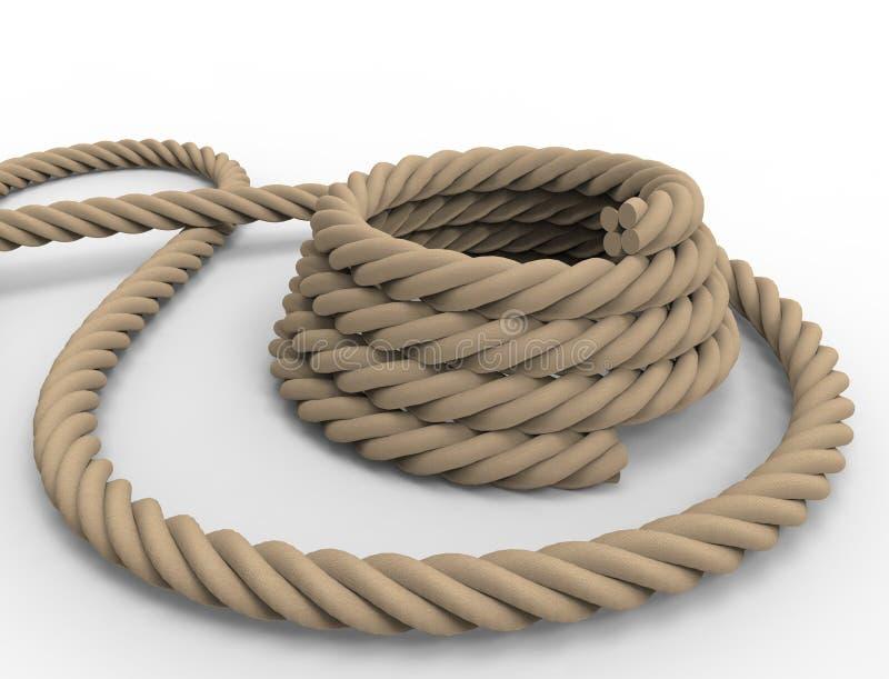 representaci?n 3D de una cuerda n?utica en el fondo blanco ilustración del vector