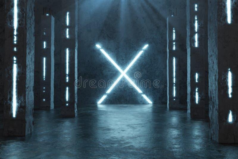 representaci?n 3d del azul aligerar la forma de X siguiente por los pilares concretos y el piso del grunge con los charcos imagen de archivo
