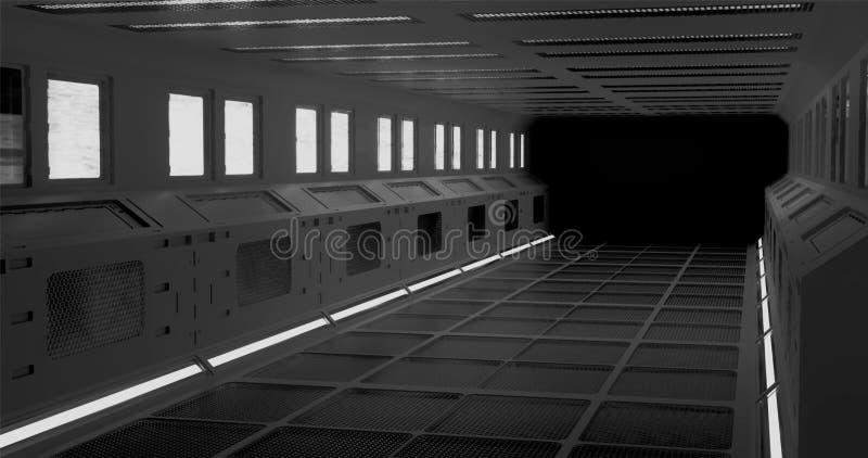 representaci?n 3d El pasillo fantástico de la estación espacial o el interior futurista de la nave espacial en la iluminación de  ilustración del vector