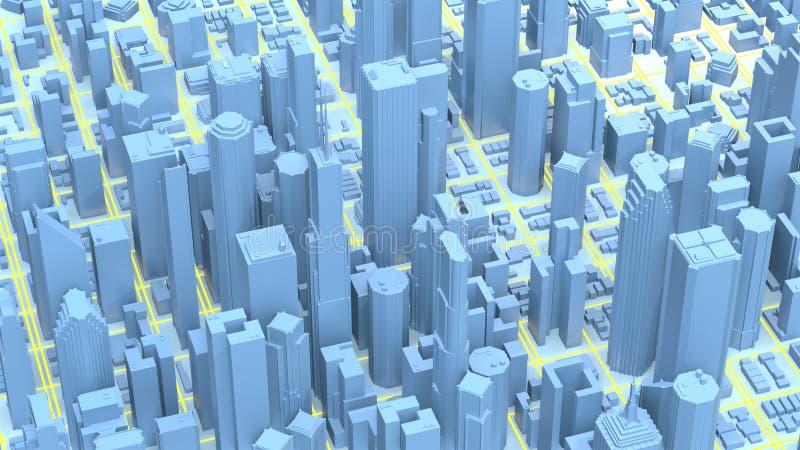 Representaci?n de la ciudad 3D Rascacielos mega de la ciudad de Techno fotografía de archivo