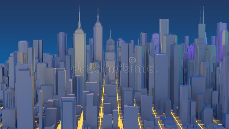 Representaci?n de la ciudad 3D Rascacielos mega de la ciudad de Techno imágenes de archivo libres de regalías