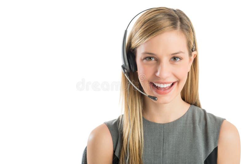 Representante de serviço ao cliente novo Wearing Headset fotos de stock royalty free
