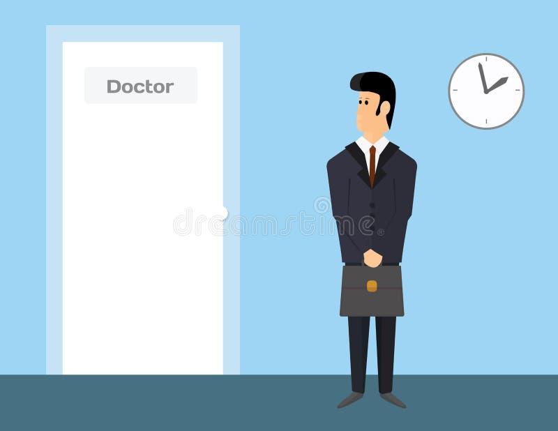 Representante de ventas farmacéutico que espera para visitar a un doctor imagenes de archivo