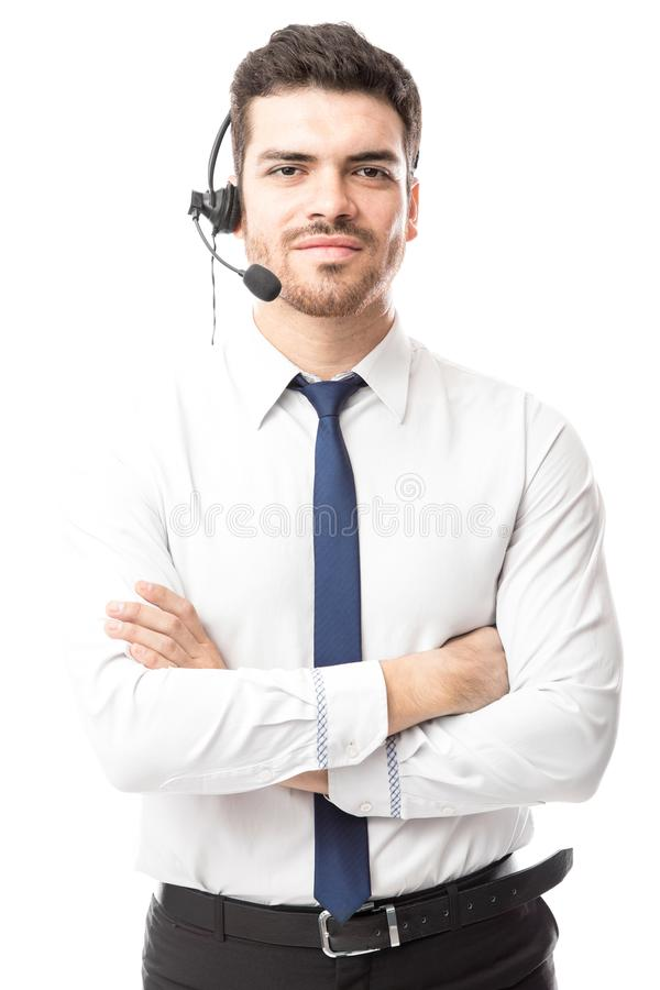 Representante del centro de atención telefónica con auriculares fotos de archivo libres de regalías