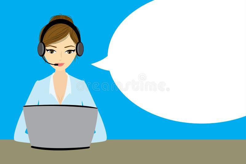 Representante/delegado de servicio de atención al cliente en el ordenador en auriculares ilustración del vector