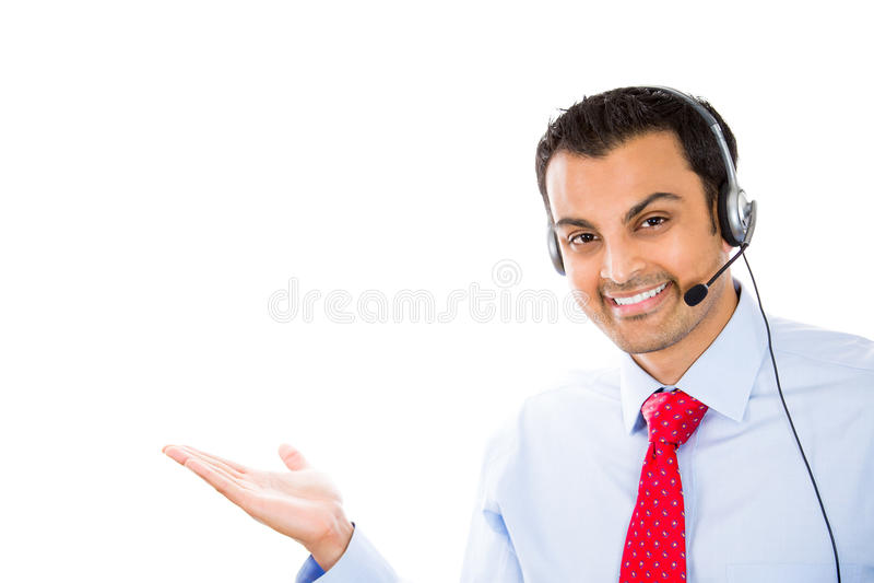 Representante/delegado de servicio de atención al cliente que representa el producto fotos de archivo