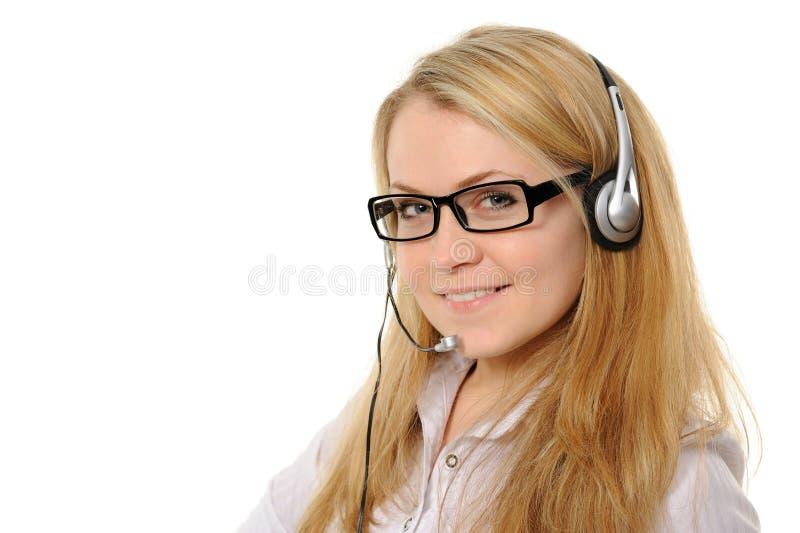 Representante femenino del servicio de atención al cliente imagen de archivo
