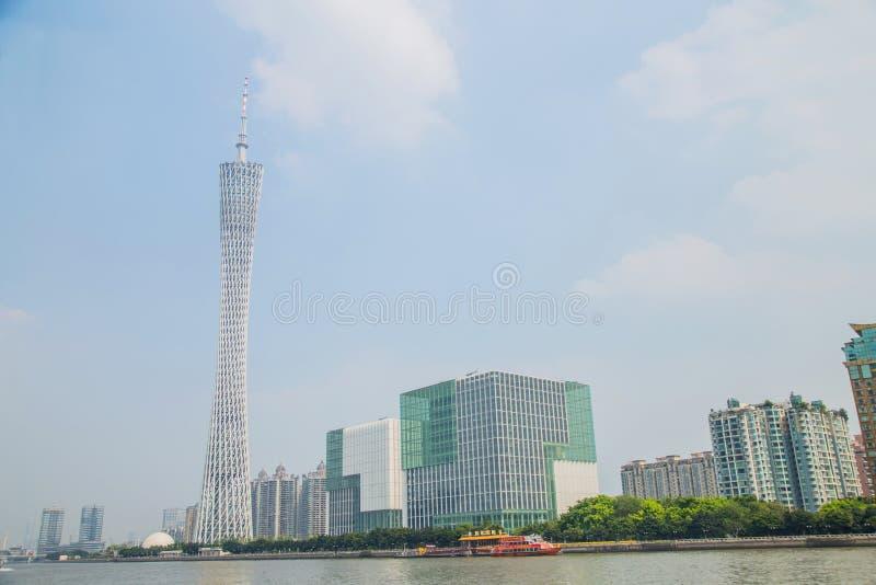 Representante proeminente da arquitetura moderna, torre de Guangzhou da tevê de Guangzhou imagem de stock royalty free