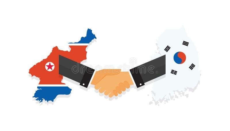 Representanter av söderna och Nordkorea skakar händer Korea fredssamtal Söder- och Nordkorea flaggor på översikt vektor royaltyfri illustrationer