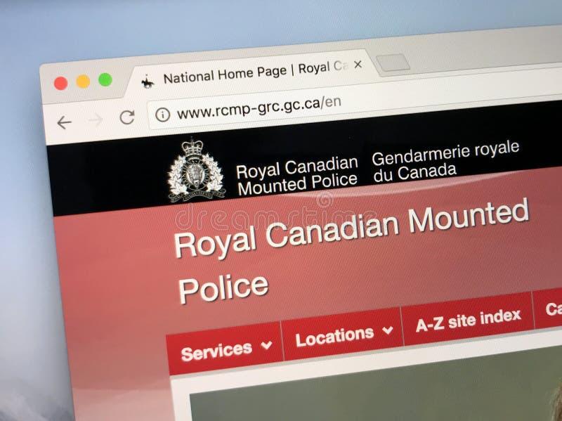 Representanthomepage av den kungliga kanadensaren monterade polisiär RCMP royaltyfri fotografi