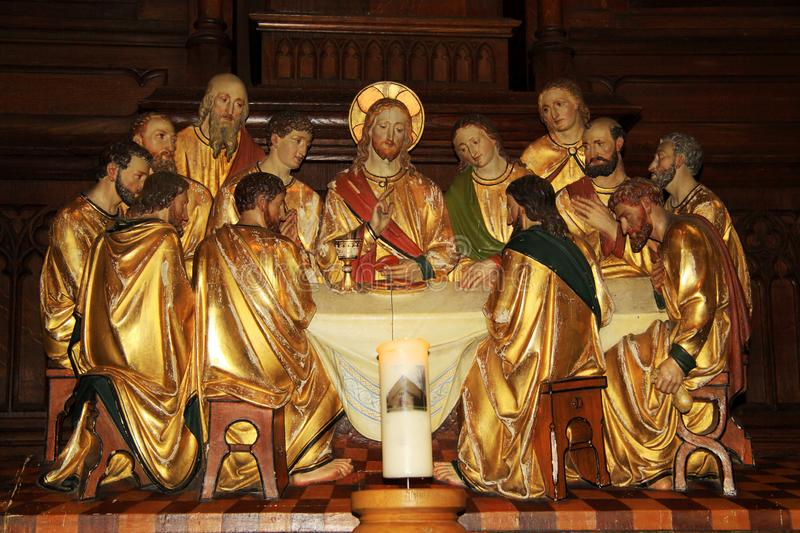 Representation of the Last Supper with Jesus and apostles. The last supper of Jesus took place on Thursday evening, on the eve of Jesus dying day, on Good Friday royalty free stock photography