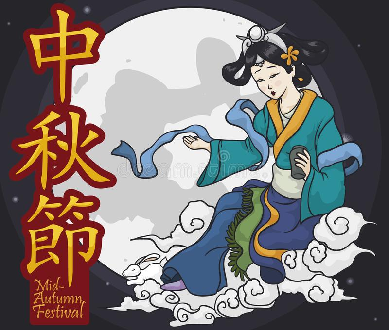Traditional Chinese Moon Goddess and Jade Rabbit for Mid-Autumn Festival, Vector Illustration. Representation of the mythical character that involve the stock illustration