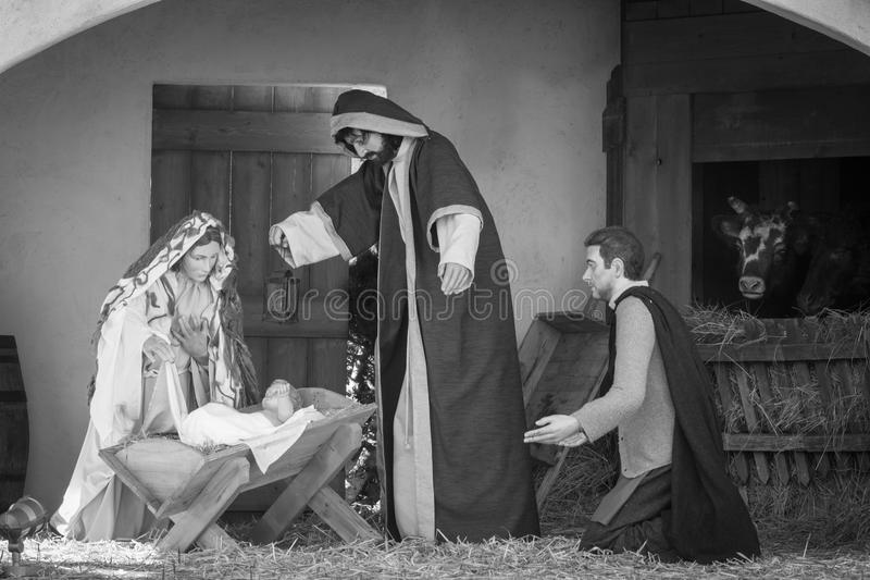 Representation of nativity Christmas tradition in Saint Peter square Rome Vatican city. Black and white stock photo