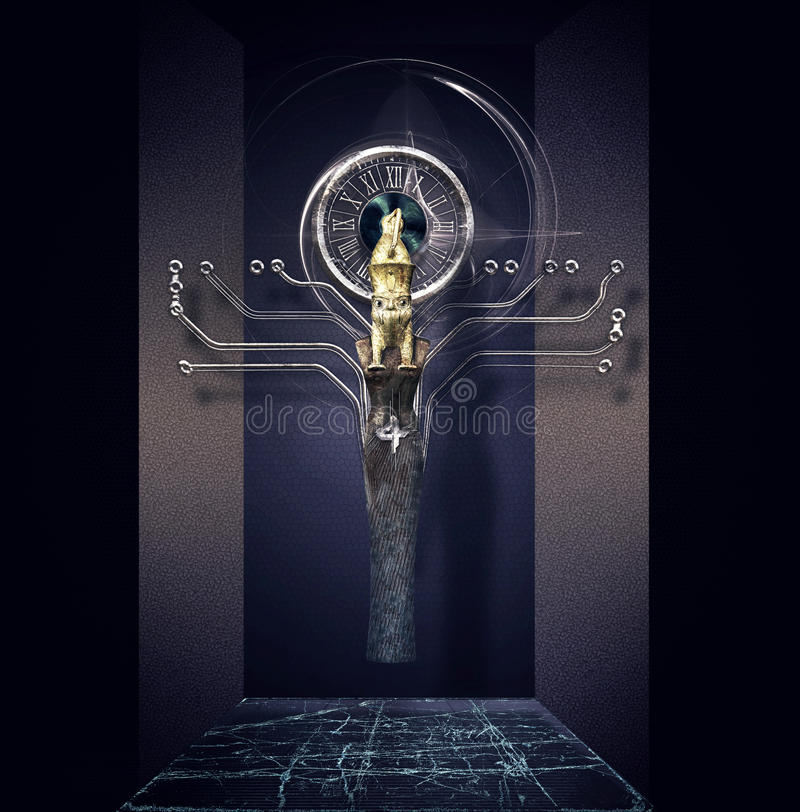 Representation of Osiris. Surrealistic representation of the Egyptian god osiris vector illustration