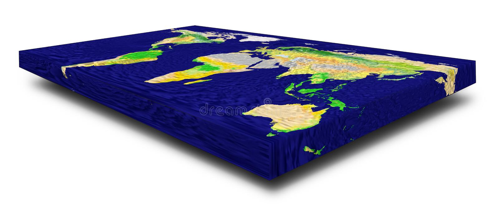 Representation of a rectangular flat Earth model on white background with shadow. Angle view with perspective 3d render. Elements vector illustration