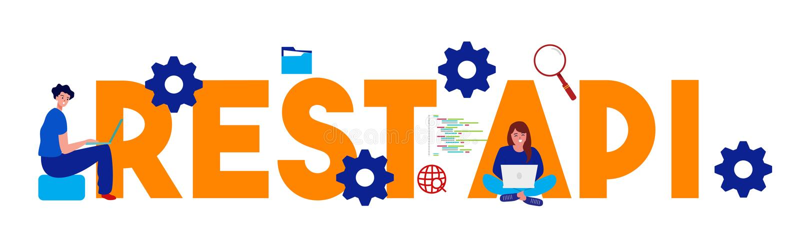 Representational State Transfer REST API - Application program interface words. large text illustration vector illustration