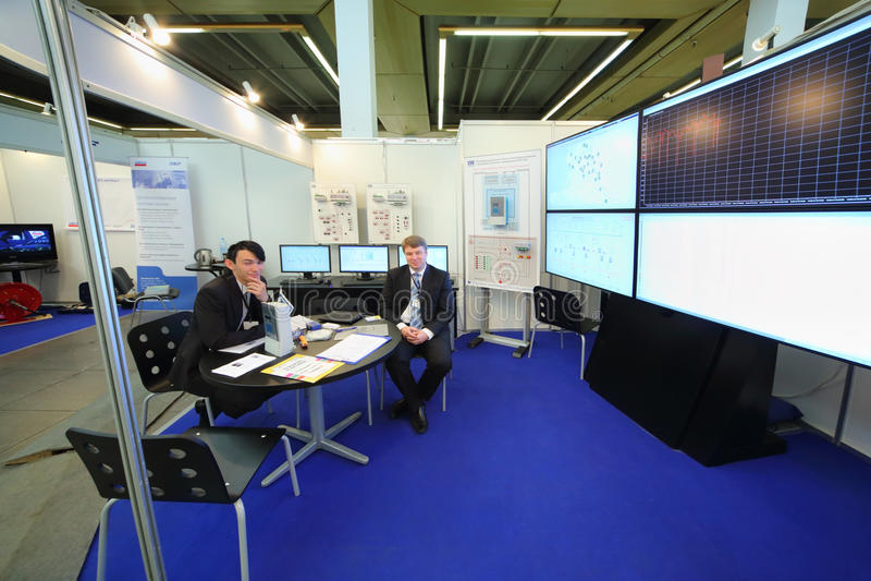 Representatives of company Communications and telemechanics system royalty free stock image
