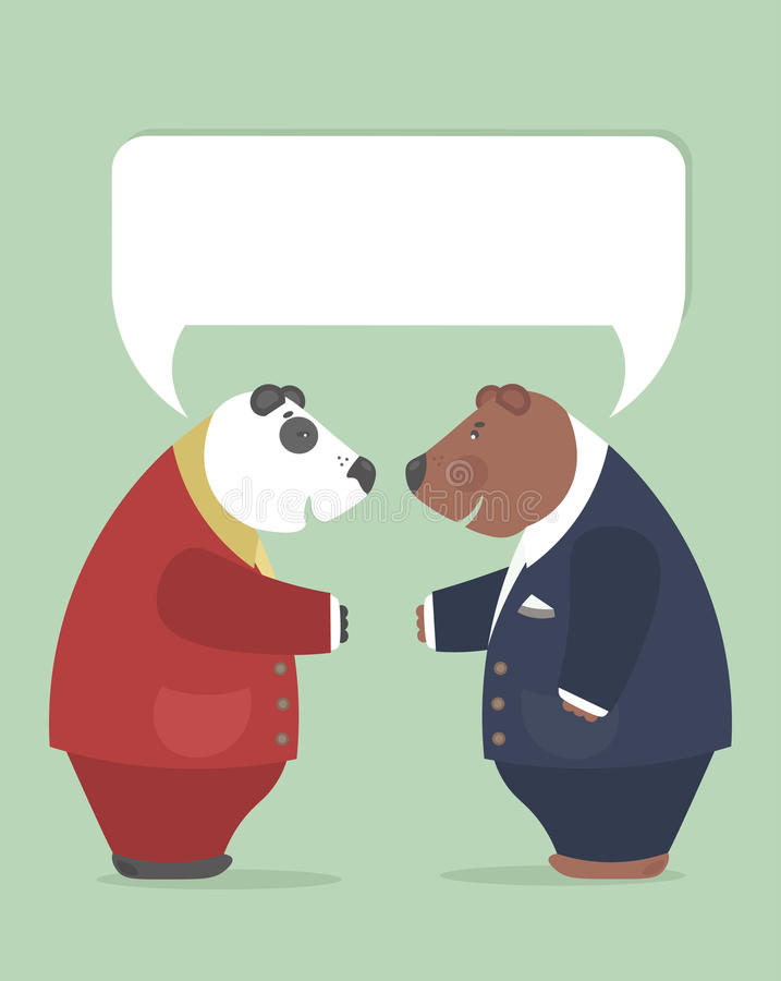 Representatives of the two nations achieve important agreements. Important negotiations between representatives of the two countries.Brown bear and panda reached vector illustration