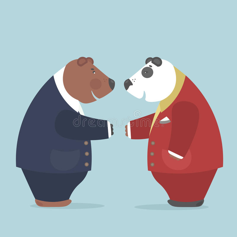 Representatives of the two nations achieve important agreements. Important negotiations between representatives of the two countries.Brown bear and panda reached stock illustration