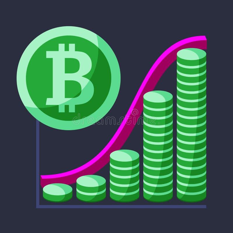 Represente de concepto financiero del crecimiento con el horario stock de ilustración