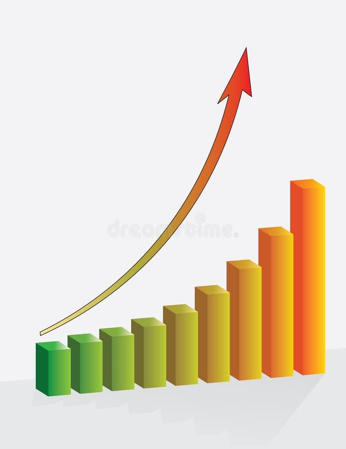Represente el crecimiento gráficamente del éxito financiero stock de ilustración