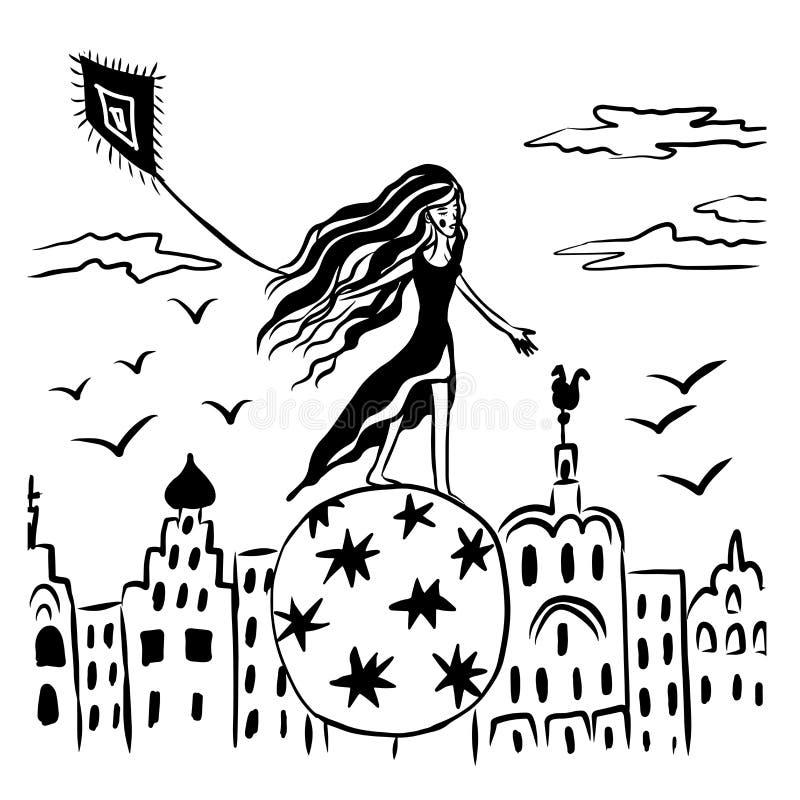 Represente el dibujo cómico de la historieta, caminante de la muchacha-cuerda tirante, equilibrando en una bola, volando sobre un fotografía de archivo libre de regalías