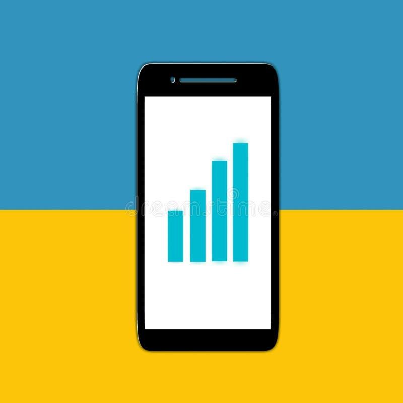 Represente el icono de la muestra gráficamente de la carta en fondo amarillo y azul fotos de archivo