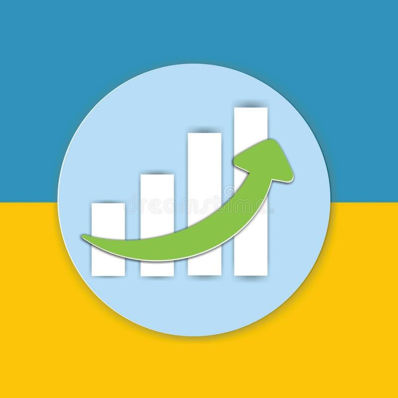Represente el icono de la muestra gráficamente de la carta en fondo amarillo y azul fotografía de archivo libre de regalías
