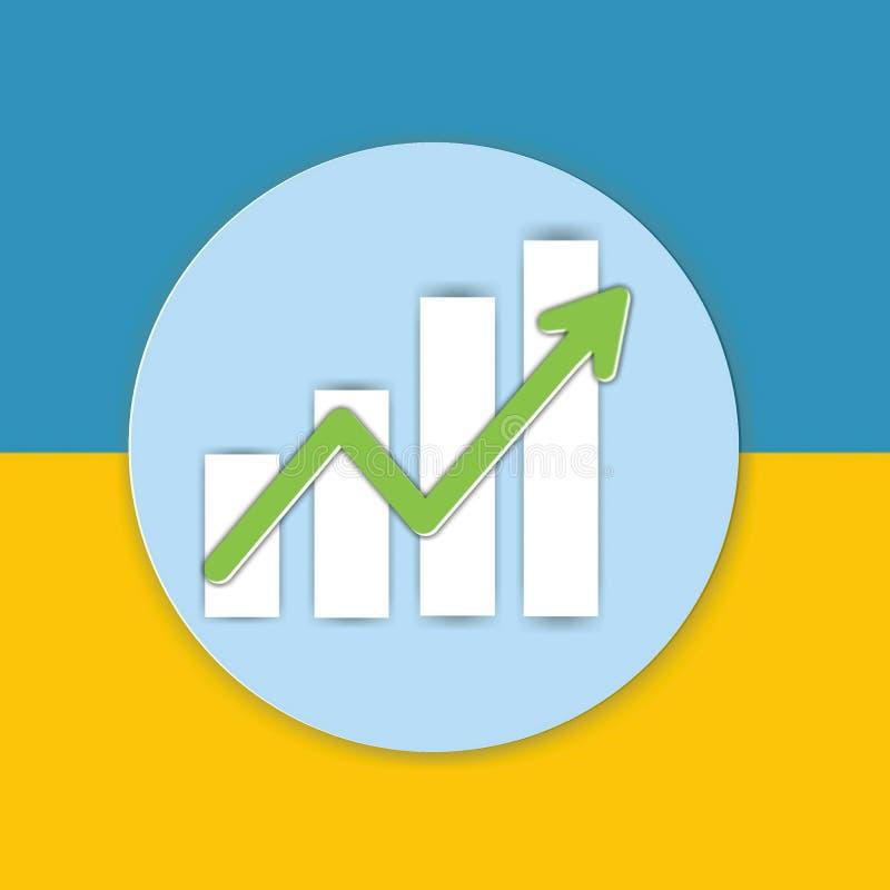 Represente el icono de la muestra gráficamente de la carta en fondo amarillo y azul imagen de archivo