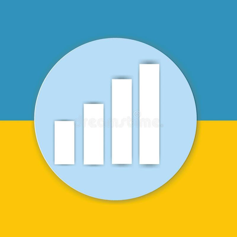 Represente el icono de la muestra gráficamente de la carta en fondo amarillo y azul imagen de archivo libre de regalías