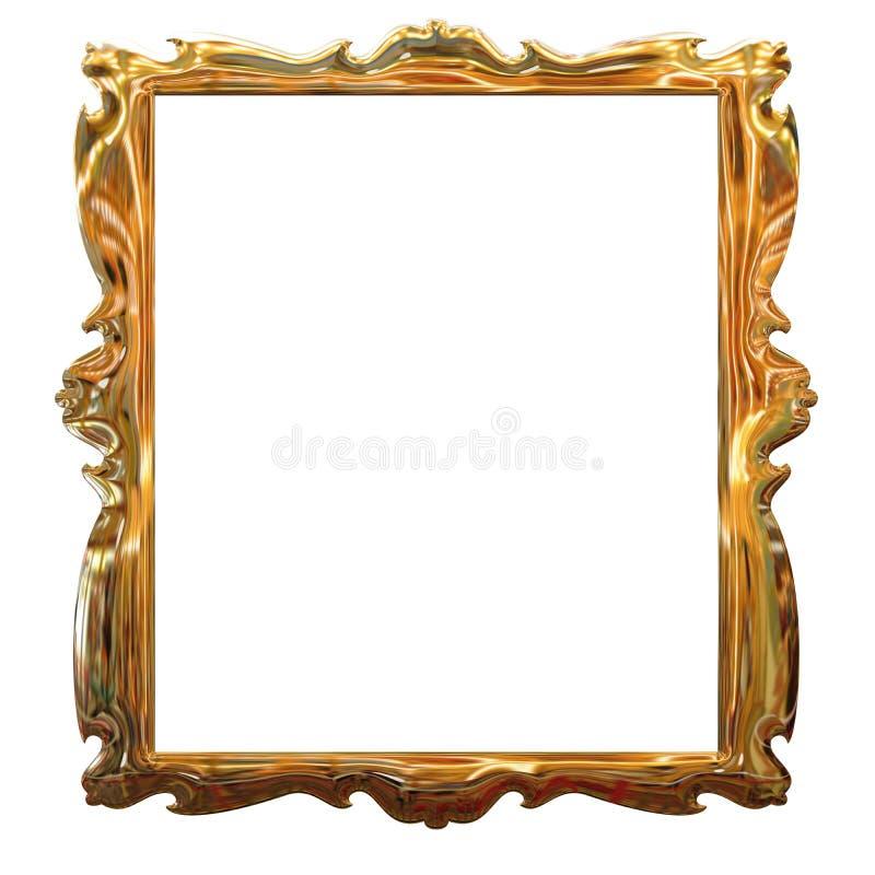 Represente el marco del oro con un modelo decorativo ilustración del vector