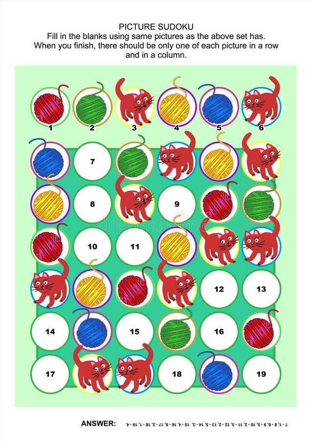 Represente el rompecabezas del sudoku con los gatos y las bolas del hilado stock de ilustración