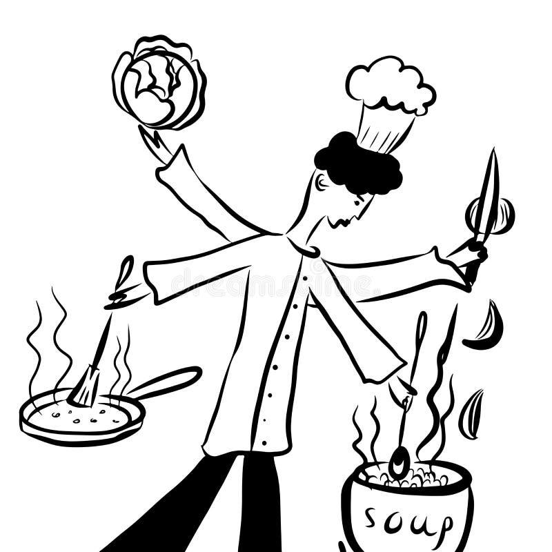 Represente a fantasia cômica dos desenhos animados do desenho, multi-entregue o cozinheiro chefe prepara a sopa vegetal com assad ilustração royalty free