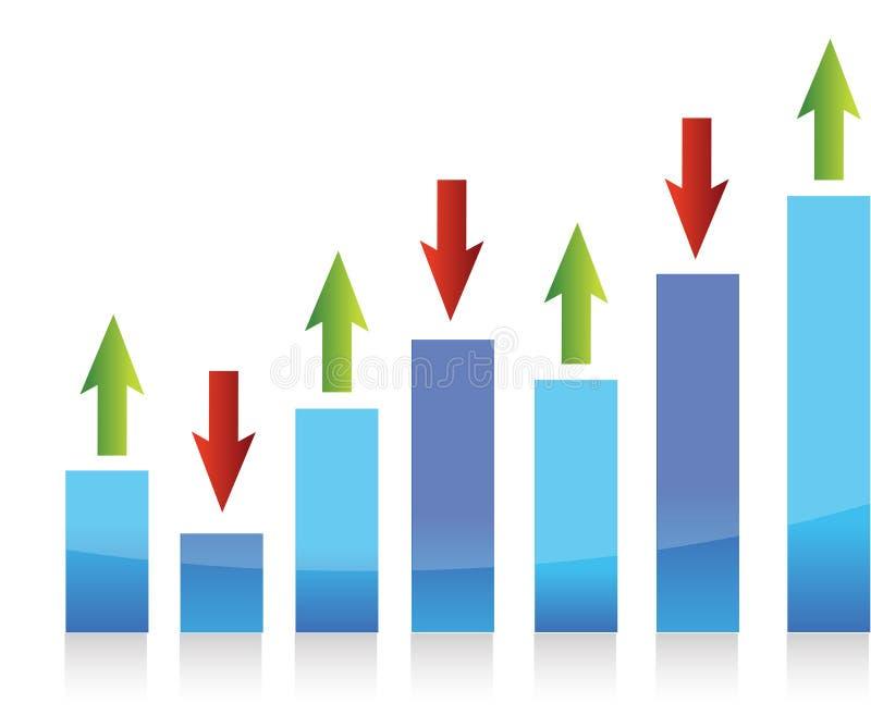Represente gráficamente arriba y abajo de la ilustración de las flechas ilustración del vector