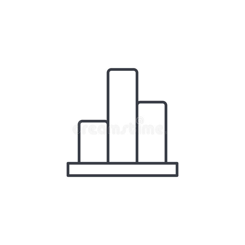 Represente graficamente a carta, linha fina ícone do diagrama da estatística Símbolo linear do vetor ilustração stock