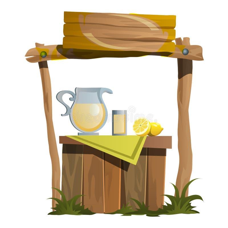 Represente la preparación y vender de las bebidas de la fruta cítrica stock de ilustración