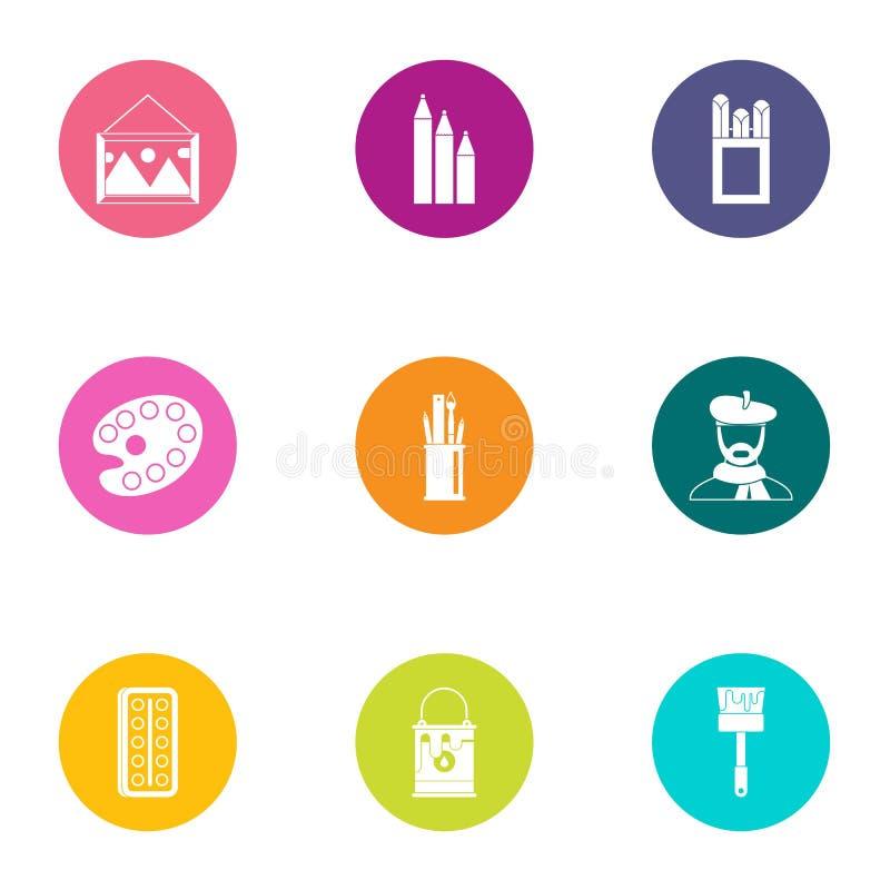 Represente los iconos fijados, estilo plano stock de ilustración