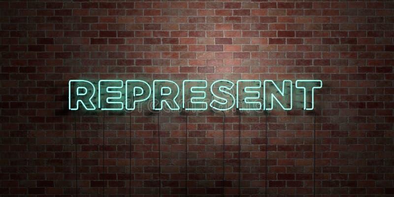 REPRESENTE - muestra fluorescente del tubo de neón en el ladrillo - la vista delantera - imagen común libre rendida 3D de los der stock de ilustración