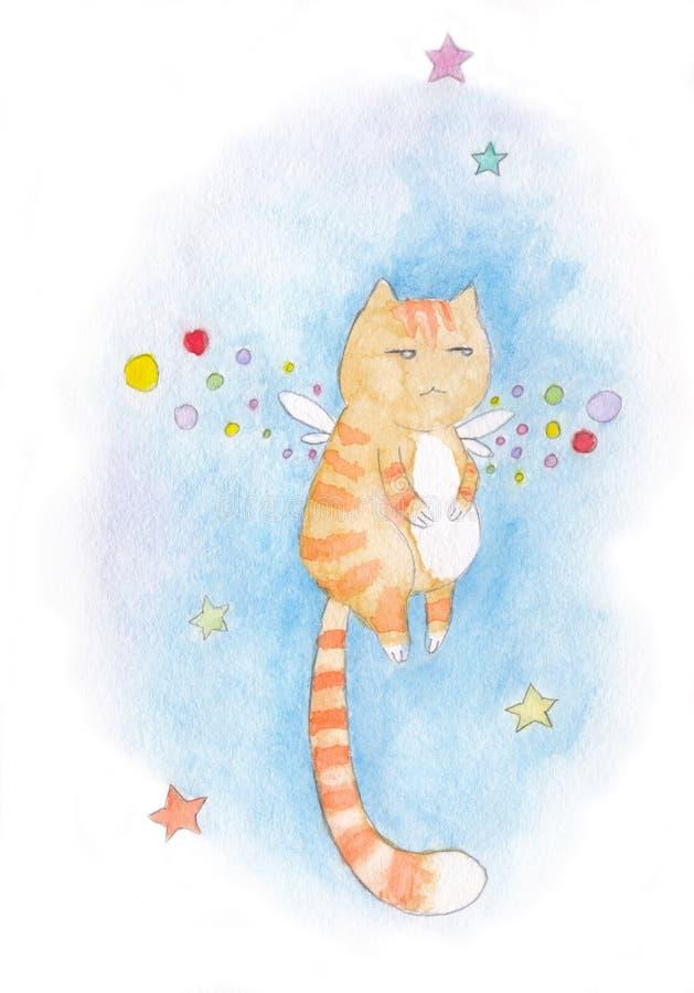 Represente o tarjeta con volar el gato rojo infeliz, rayado con las alas de hadas stock de ilustración