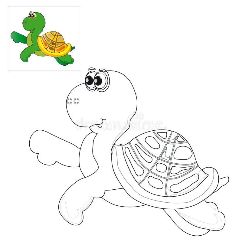 Represente Para Colorear Una Tortuga Ilustración del Vector ...